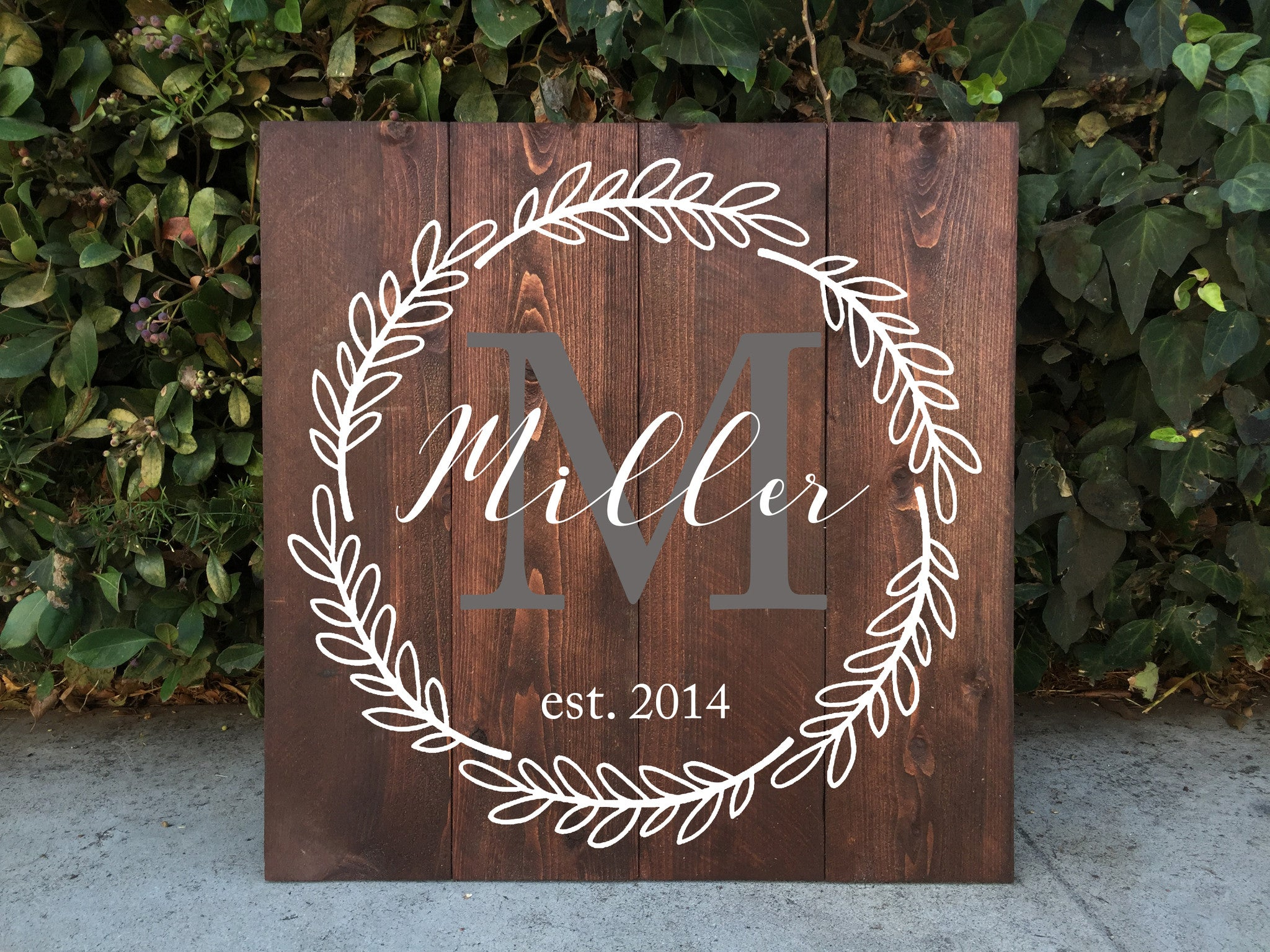 Family monogram wooden sign rustic home decor family for Crest home designs bedding
