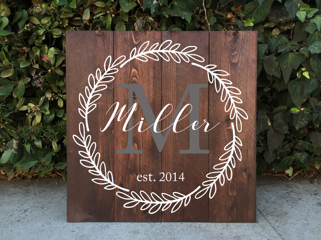 Family Monogram Wooden Sign - Rustic Home Decor Family Crest - Heart And Hand