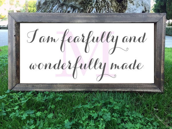 I Am Fearfully And Wonderfully Made Personalized Initial Sign - Framed Artwork Rustic Home Nursery Decor Hand Painted Sign - Heart And Hand