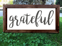 Grateful - Framed Artwork Rustic Home Decor Nursery Hand Painted Sign - Heart And Hand