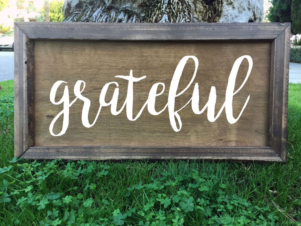 Grateful - Framed Artwork Rustic Wooden Home Decor Nursery Hand Painted Sign - Heart And Hand