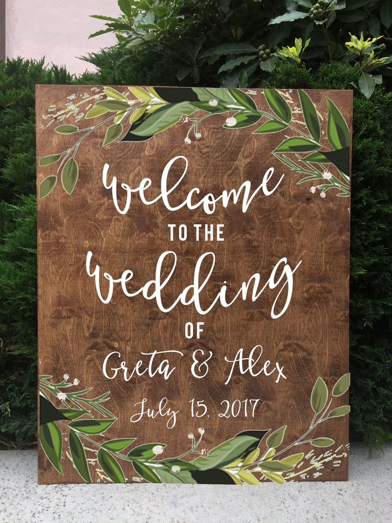 Welcome Wedding Sign - Rustic Wedding Framed Chalkboard | Wedding Greenery Easel Chalkboard Sign - Heart And Hand