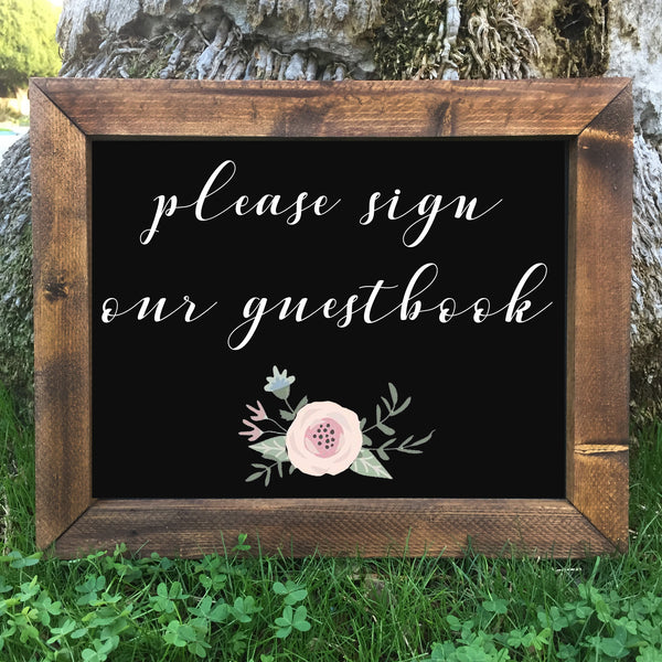 Please Sign Our Guestbook - Rustic Wedding Framed Chalkboard Sign - Heart And Hand