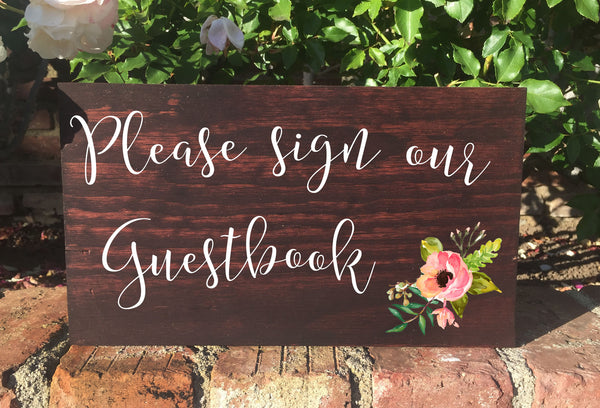 Please Sign Our Guestbook Sign Wedding Sign Rustic Wooden Stand Alone Sign - Heart And Hand