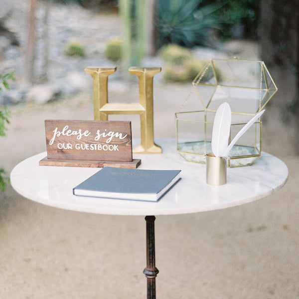 Guestbook Rustic Wedding Sign Please Sign Our Guestbook Wooden Stand Alone Sign - Heart And Hand