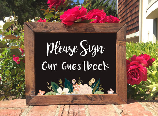 Wedding Guestbook Sign - Sign Our Guestbook Rustic Wedding Framed Chalkboard Sign - Heart And Hand