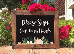 Wedding Guestbook Sign - Sign Our Guestbook Rustic Wedding Framed Chalkboard Sign