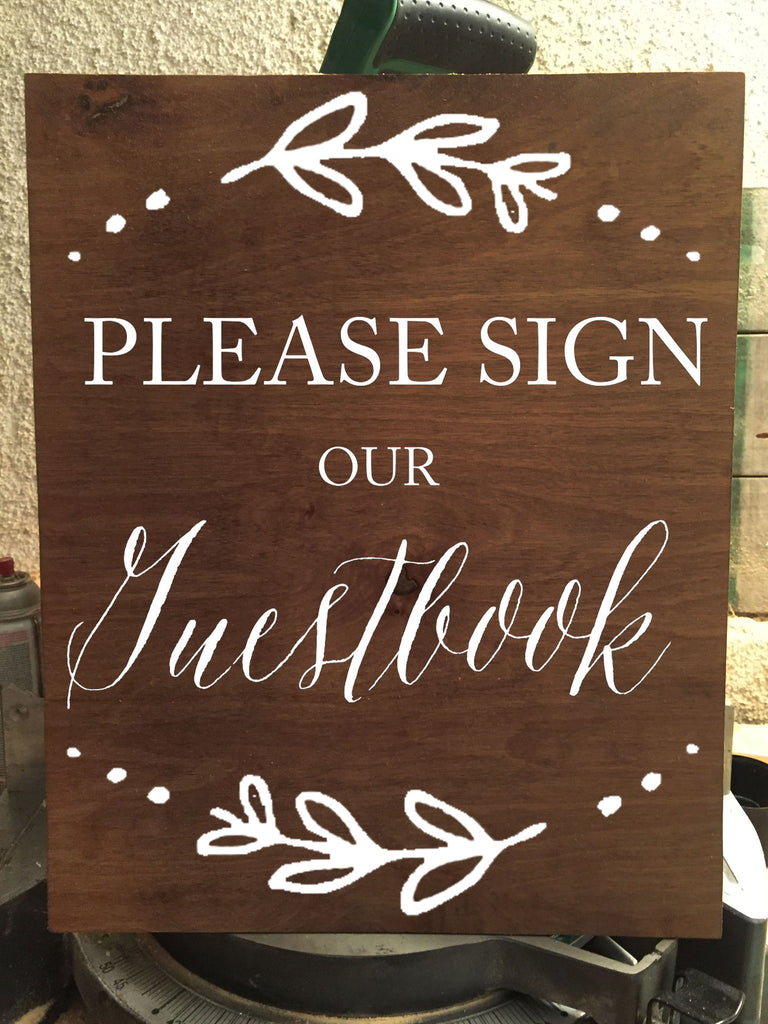 Please Sign Our Guestbook - Rustic Wedding Wooden Sign - Heart And Hand