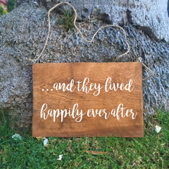 Ring Bearer Sign - And They Lived Happily Ever After Rustic Wedding Sign - Heart And Hand