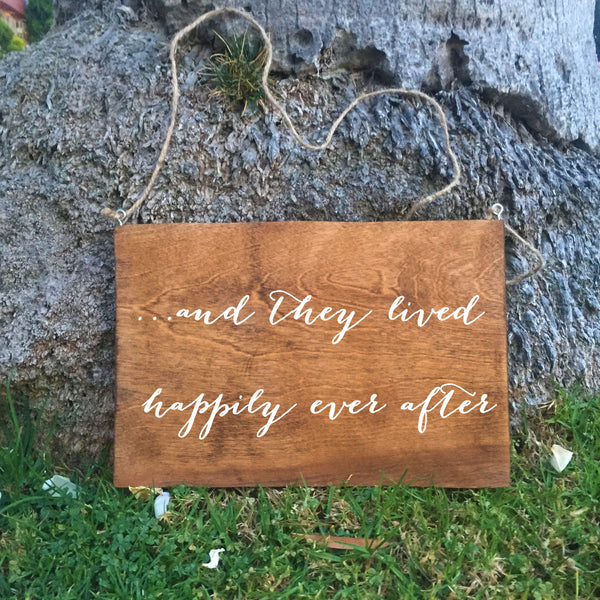 Ring Bearer Sign - And They Lived Happily Ever After Rustic Wedding Sign