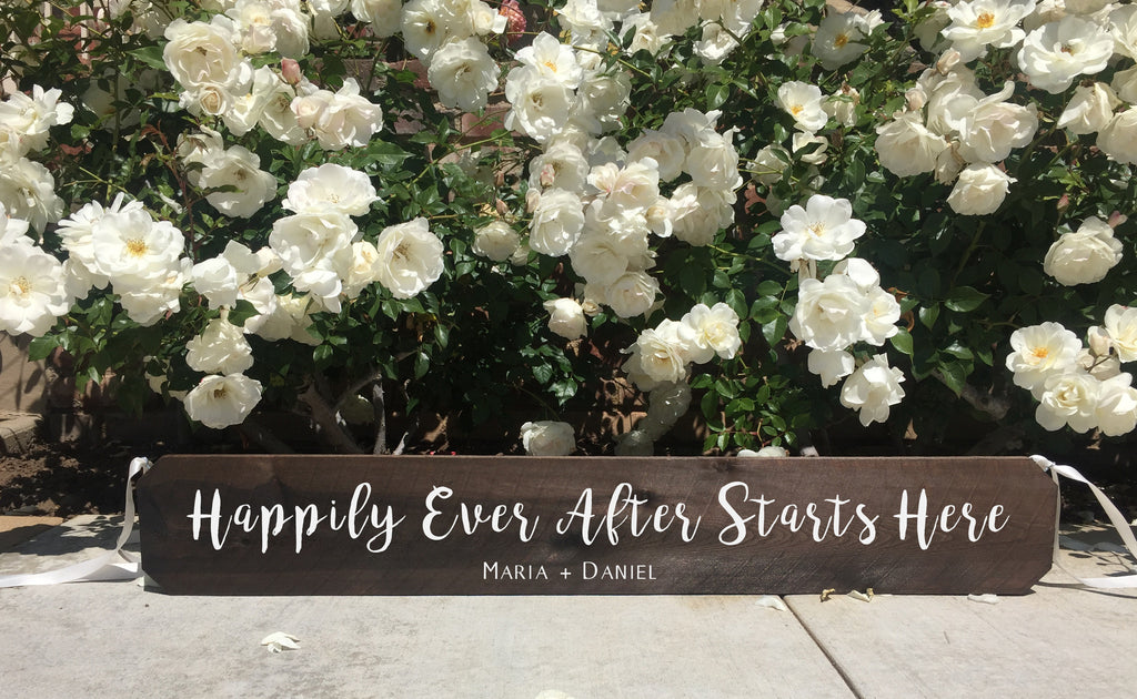 Wedding Aisle Sign Decor Rustic Wedding Sign - Happily Ever After Starts Here Ceremony Aisle Rustic Wedding Sign