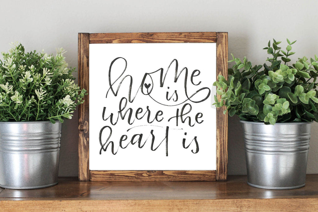 Home Is Where The Heart Is - Framed Artwork Rustic Home Nursery Decor Wooden Sign - Heart And Hand