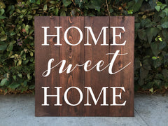 Home Sweet Home Wooden Sign - Rustic Home Decor - Heart And Hand