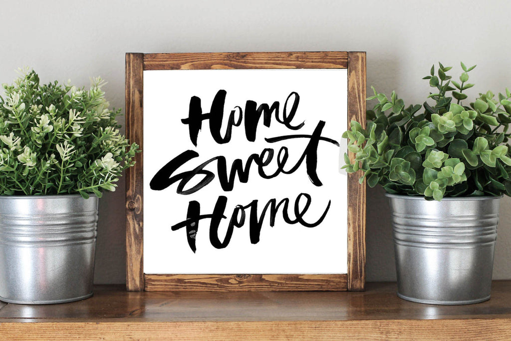 Home Sweet Home - Framed Artwork Rustic Home Decor Wooden Sign - Heart And Hand