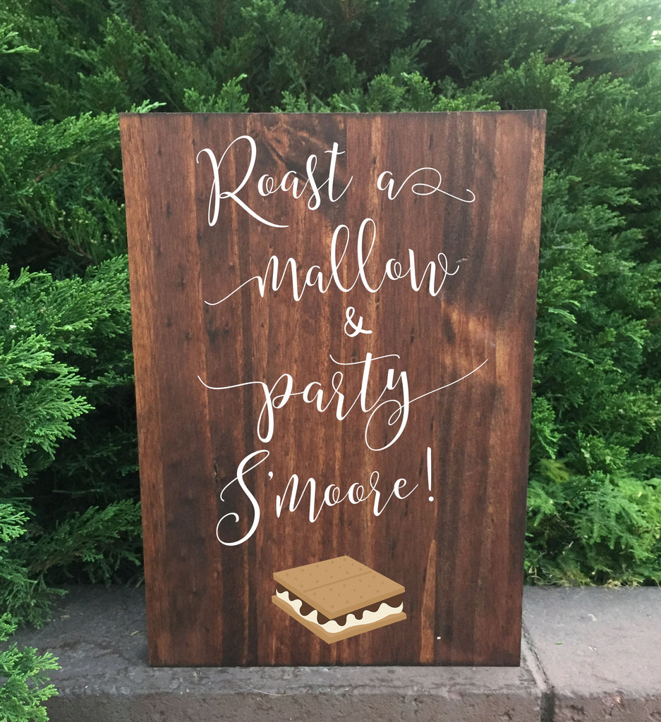 Smores Bar Wedding Sign - Roast A Mallow And Party S'more Stand Alone Wooden Wedding S'mores Bar Sign - Heart And Hand