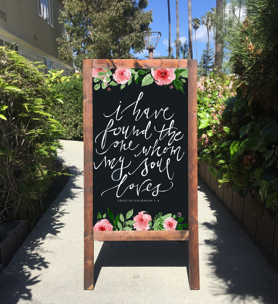 Welcome Wedding Sign - I Have Found The One Whom My Soul Loves Bible Verse Song Of Solomon Rustic Wedding Chalkboard Sandwich Board | Wedding Easel Sign - Heart And Hand