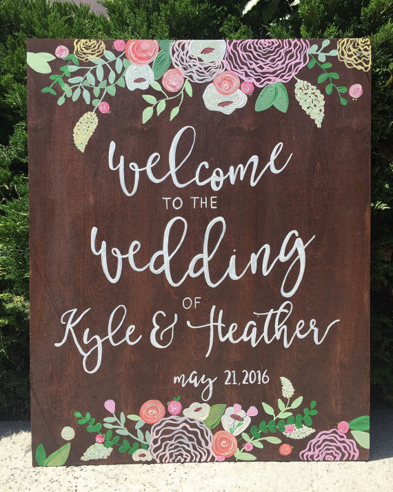 Rustic wedding sign welcome wedding sign wooden board heart and hand rustic wedding sign welcome wedding sign wooden board heart and hand junglespirit Choice Image