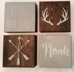 Boy Nursery Wooden Block Set - Rustic Nursery Sign Decor - Heart And Hand
