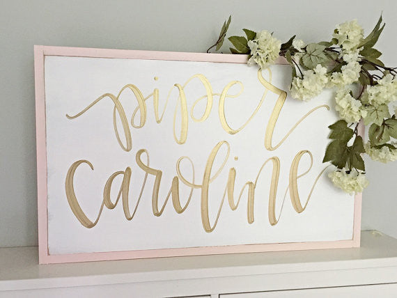 Custom Order Reserved For Morgan Leonard - Girl Nursery Hand Painted Calligraphy Sign - Wooden Rustic Shabby Chic Nursery Sign - Heart And Hand