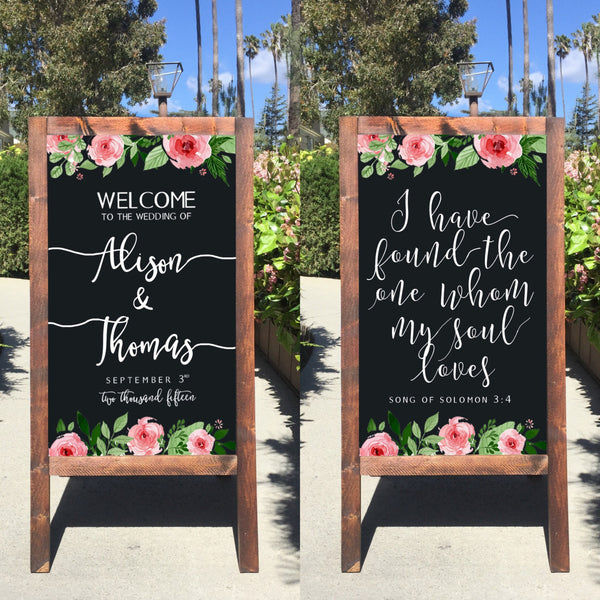 Rustic Wedding Sign - I Have Found The One Whom My Soul Loves Song Of Solomon Bible Verse Welcome Wedding Sandwich Board - Heart And Hand