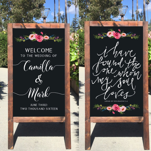 Rustic Wedding Sign - I Have Found The One Whom My Soul Loves Bible Verse Welcome Wedding Double Sided Sandwich Board