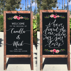 Rustic Wedding Sign - I Have Found The One Whom My Soul Loves Bible Verse Welcome Wedding Double Sided Sandwich Board - Heart And Hand