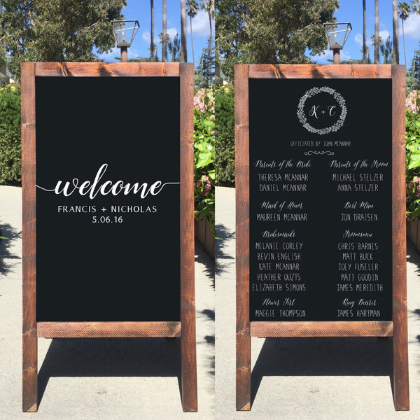 Rustic Wedding Sign - Welcome Wedding Chalkboard Program Sandwich Board - Heart And Hand