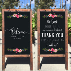 Welcome Wedding Sign - The Best Things In Life Are Meant To Be Shared Rustic Wedding Chalkboard Sandwich Board | Wedding Easel Sign - Heart And Hand
