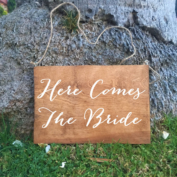 Ring Bearer Sign - Here Comes The Bride Rustic Wedding Sign - Heart And Hand