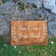 Ring Bearer Sign - Here Comes Your Bride Rustic Wedding Sign
