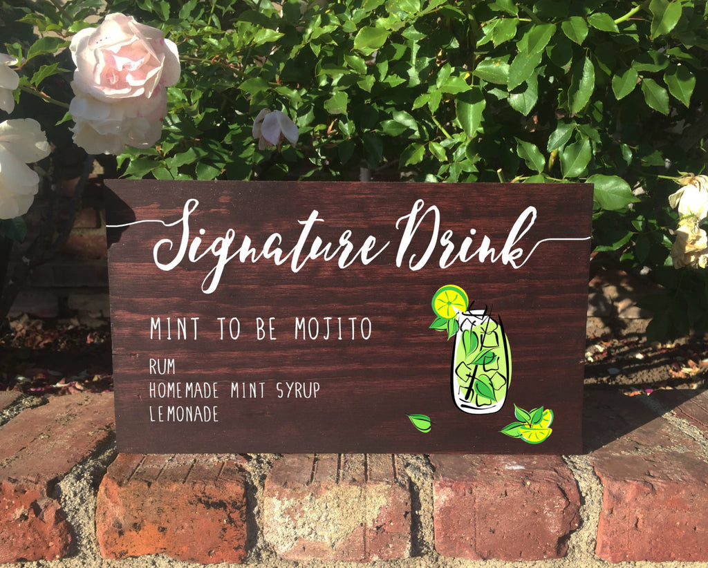 Rustic Wedding Sign - Signature Drink Stand Alone Wooden Wedding Bar Sign - Heart And Hand