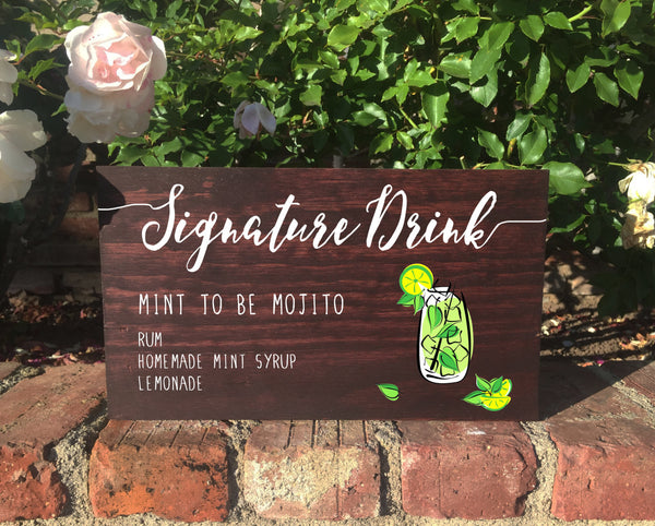 Rustic Wedding Sign - Signature Drink Stand Alone Wooden Wedding Sign - Heart And Hand