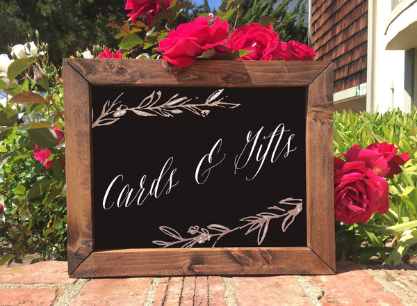Cards & Gifts - Rustic Wedding Framed Chalkboard Sign - Heart And Hand