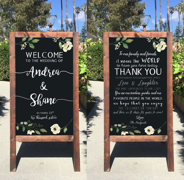 Rustic Wedding Sign - Welcome Wedding Chalkboard Sign Thank You Double Sided Sandwich Board - Heart And Hand