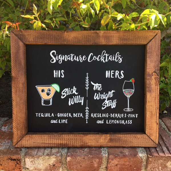 Signature Drinks - Rustic Wedding Framed Chalkboard Sign Signature Cocktails His and Hers Bar Sign - Heart And Hand