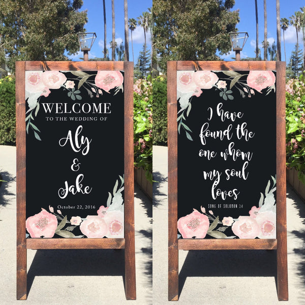 Welcome Wedding Sign - I Have Found The One Whom My Soul Loves Rustic Wedding Chalkboard Sandwich Board - Heart And Hand