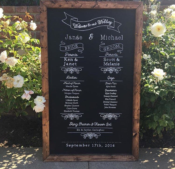 Rustic Wedding Program Ceremony Order Wedding Party Framed Chalkboard - Heart And Hand
