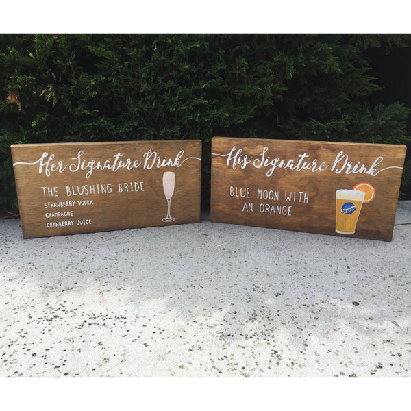 Rustic Wedding Sign - His & Hers Signature Drink Stand Alone Wooden Wedding Bar Sign - Heart And Hand