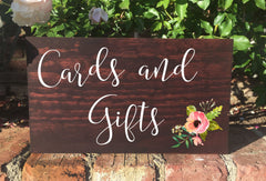 Cards and Gifts Sign Wedding Sign Rustic Wooden Stand Alone Sign - Heart And Hand
