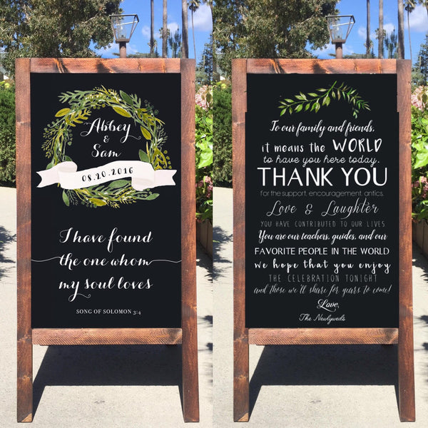 Rustic Wedding Sign - Welcome Wedding Chalkboard Sign Thank You Sandwich Board | Wedding Easel Sign I Have Found The One Whom My Soul Loves Song Of Solomon Thank You Message - Heart And Hand