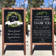 Rustic Wedding Sign - Welcome Wedding Chalkboard Sign Thank You Sandwich Board | Wedding Easel Sign I Have Found The One Whom My Soul Loves Song Of Solomon Bible Verse Thank You Message - Heart And Hand