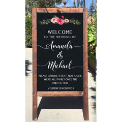 Welcome Wedding Sign - Rustic Wedding Chalkboard Sign Seating Easel Please Choose A Seat Not A Side We're All Family Once The Knot Is Tied - Heart And Hand