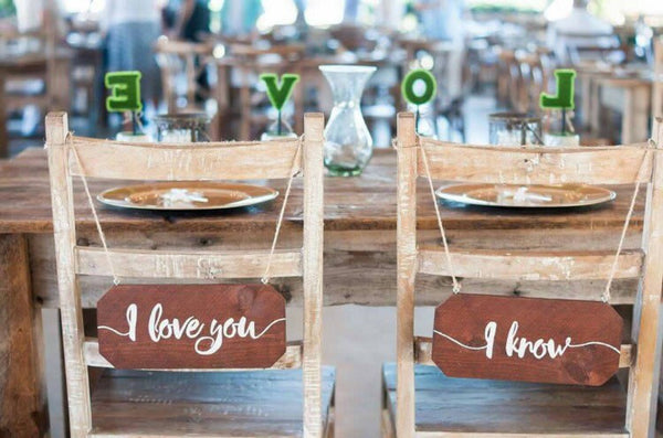 Wedding Chair Signs - I Love You I Know Star Wars Themed Rustic Chair Signs - Heart And Hand
