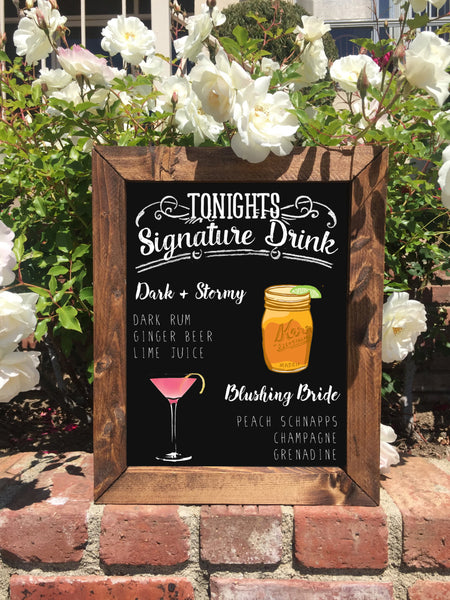 Signature Drinks Rustic Wedding Sign - Framed Chalkboard Wedding Bar Sign - Heart And Hand