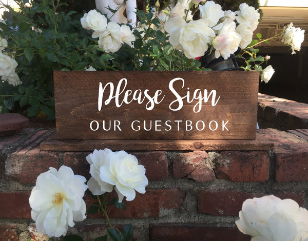 Guestbook Rustic Wedding Sign Please Sign Our Guestbook Wooden Stand Alone Sign