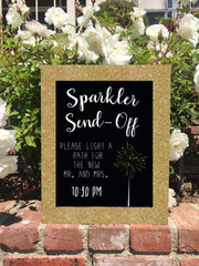 Sparkler Send Off - Rustic Wedding Sign Framed Chalkboard - Heart And Hand