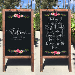 Welcome Wedding Sign - Wedding Easel Sign Today I Marry My Best Friend Rustic Wedding Chalkboard Sandwich Board - Heart And Hand