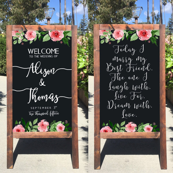 Welcome Wedding Sign - Today I Marry My Best Friend Rustic Wedding Chalkboard Sandwich Board | Wedding Easel Sign - Heart And Hand
