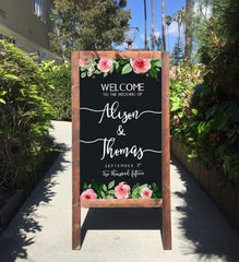 Welcome Wedding Sign - Rustic Wedding Chalkboard Sandwich Board | Wedding Easel Sign - Heart And Hand