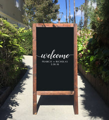 Welcome Wedding Sign - Today I Marry My Best Friend Rustic Wedding Chalkboard Sandwich Board | Wedding Easel Sign  Ask a question - Heart And Hand